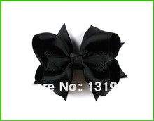 "12pcs 4"" Baby Girl women Toddlers Grosgrain Ribbon for Hair bows boutique Flower clips love design accessories Black aertae(China)"