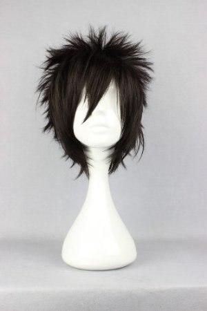 OHCOS 30CM Short Rock Spiky Straight Dark Black Hair Heat Resistant Synthetic Hair Cosplay Wigs Peruca<br><br>Aliexpress