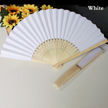 200pcs Wedding Favors Gift Paper Folding Fan Bride Hand Fan with Bamboo Ribs Candy Color Craft DIY Fan+DHL Free Shipping