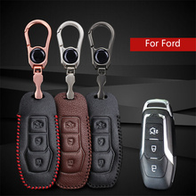 For Ford Key Case Leather Car Smart Key Holder Key Cover Case For Ford Edge Mondeo Mk4 Mk3 Fiesta C Max Mustang Key ring Chain(China)