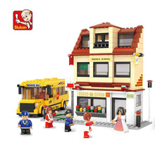 496 pieces baby girl blocks plastic Model Building Kits Education bricks toys girl style play house with school bus N0333(China)
