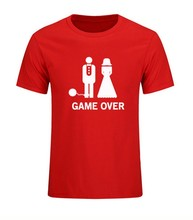 Game Over Marriage Ball And Chain Funny Wedding Gift T Shirts Mens Short Sleeve O Neck Casual Dress Problem Solved T-shirts(China)