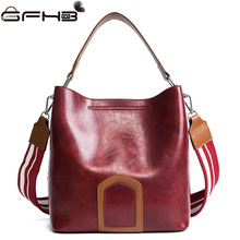 Fashion Design Women Handbags Leather Tote Bucket Bag Michael Handbags 2017 Autumn Panelled Wide Shoulder Strap Bags Bolso Mujer(China)