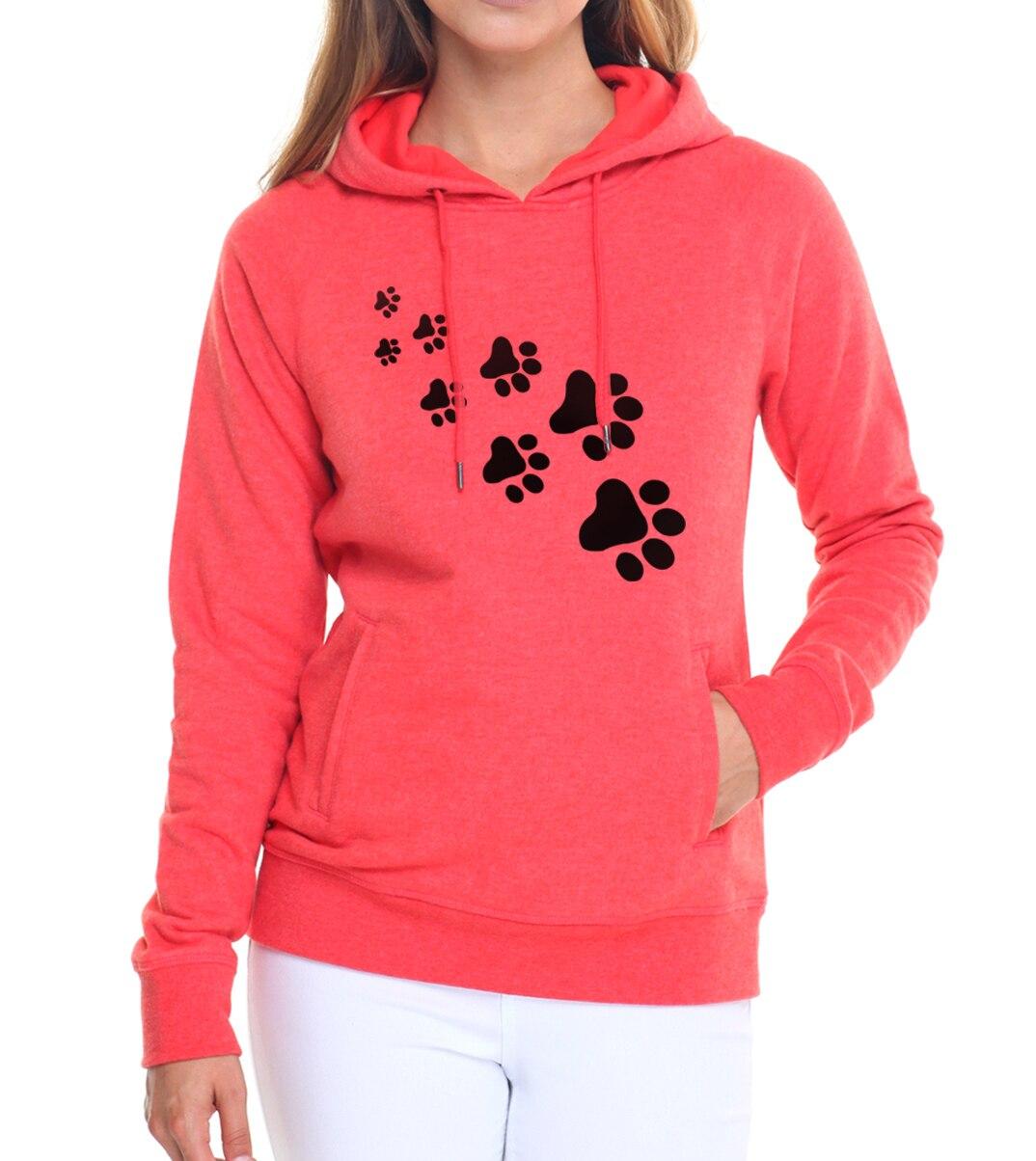 Casual fleece autumn winter sweatshirt pullovers 17 kawaii cat paws print hoodies for Women black pink brand tracksuits femme 9