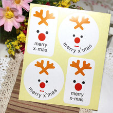 10page/lot (40pcs) Christmas stickers Santa elk circular adhesive sticker Candy box gift card decoration party supplies