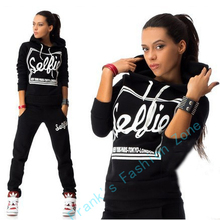 2017 Woman Tracksuit Clothing Hoodies Set Letter Print Sportwear Suit Women 2 Piece Set Costumes Sweatshirt+Pants Sudaderas