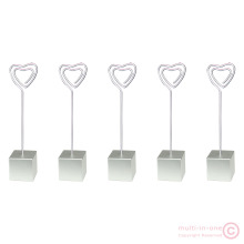 5pcs silver cube base heart wire standing memo&photo&card&desk/picture clip holders,wholesale wedding place lot,party favor(China)