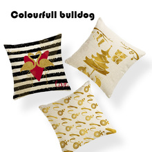 Creative Christmas Metallic Gold Deer Flamingo Pillow Case Cushion Cover Camping 18 Linen Home Decor Balls Sofa Sunset Almofada(China)