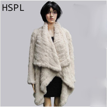 HSPL 2017 Extra Large Knitted Genuine Rabbit Fur Jacket Drop Collar Long Sleeve Winter For Women Real fur coat knit fur shawl