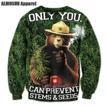 ALMOSUN Smokey the Bear 3D All Over Print Crewneck Pullover Sweatshirts Hipster Streetwear Casual Jumper Men Women