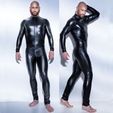 2017 3XL man leather latex catsuit Teddy bodysuit black shiny Erotic Lingerie Bodysuits Zentai Body Wear One Piece jumpsuit(China)