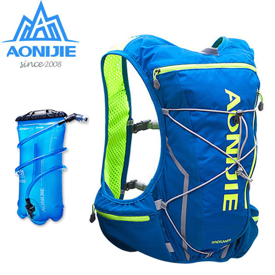 AONIJIE 5L Outdoor Backpack Marathon Vest Pockets Bag for Running Rucksack Cycling Safety Gear With 2L Hydration Bladder<br>