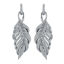 Fashion jewelry new crystal from Swarovski Feather high-grade temperament circle anti allergy stud earrings(China)