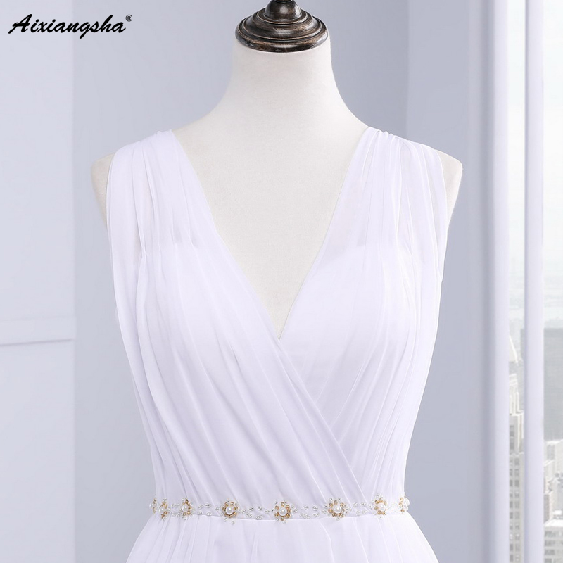 Dress Bride Ivory Chiffon Open Back 2017 Greek Style Vestidos Wedding Dress Sleeveless Floor Length Sexy Wedding Dress 7