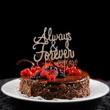 Always and Forever Wedding Anniversary Glitter Crystal Cake Toppers(China)