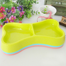 New Hot Sales Plastic Small double bowl Small bones style Pet dual bowls Pet Supplies dogs and cats dedicated water bowls