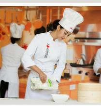 New 2017 Fashion White Restaurant chef uniform Woman I LOVE Cook High Quality French restaurant uniform(China)