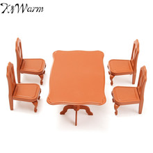 Cute Mini Dining Table Chairs Furniture Set Ornaments Miniatures Doll House Craft Figurines Photography Prop Home Decor Gifts(China)