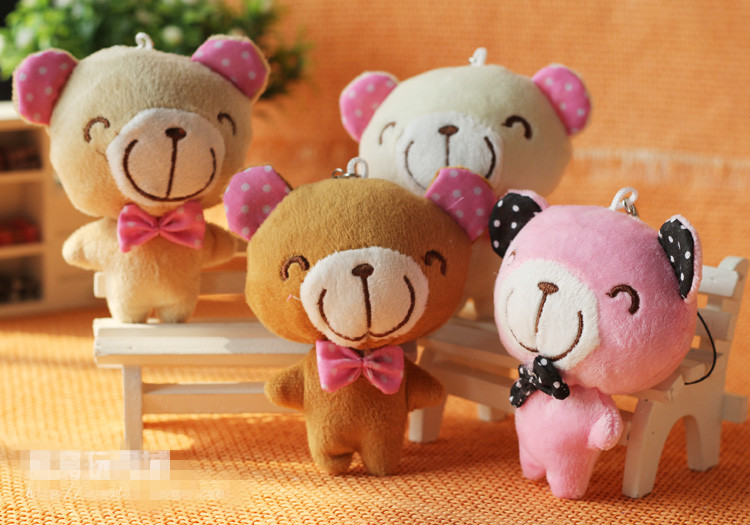new 12pieces/lot 10cm multicolor plush Cartoon bear doll toy Wedding bouquet Valentine bouquet Festival Bouquet(China (Mainland))