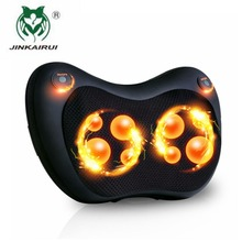 JinKaiRui 8 Massage Balls Kneading Neck Shoulder Back Massager Pillow Infrared Shiatsu Electric Car Chair Relax Device