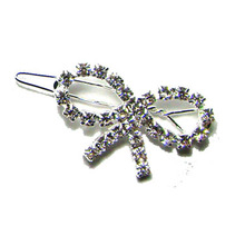 New 35x20mmfancy rhinestone ribbon bow charm new hinge clip hair barrette wedding ornament jewelry accessory 1DZx free shipping(China)