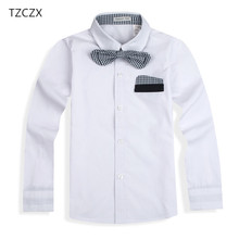 TZCZX 1pcs New Children boys Shirts Cotton 100% With Tie Kids Shirts Clothing(China)