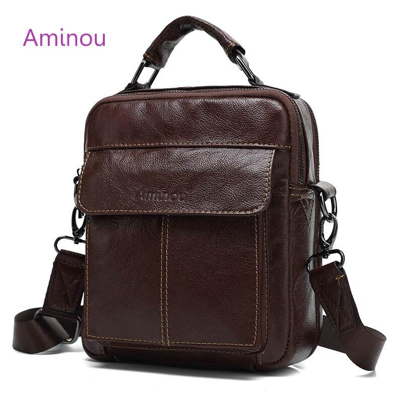 2017 Hot Sale Vintage Messenger Bag Men Leather Genuine Shoulder Bag Casual Black Male Handbag Fashion Cow Leather Crossbody Bag<br>