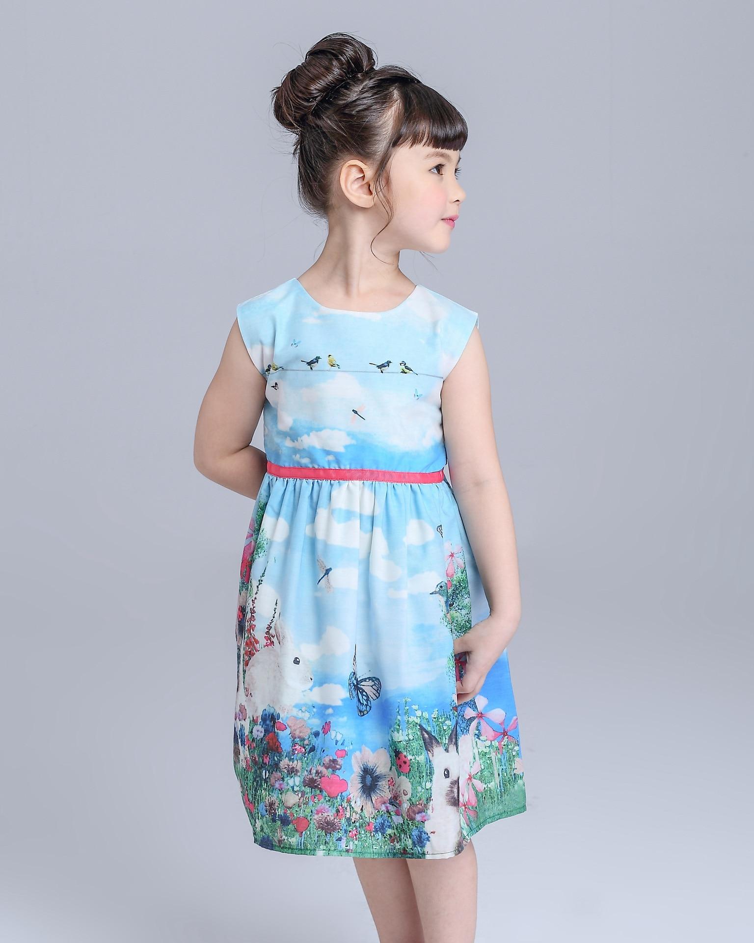 Baby Girl Clothes Kids Children Dresses Flowers Sweet Lovely Rabbit Cartoon Blue Princess Dresses Sleeveless Summer<br>