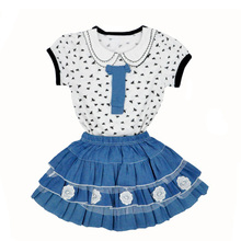 NEW Design Childrens Clothing Summer Dragonfly Prints T-Shirt+Lace Denim Skirt Girl Set Cute Children Two Piece roupas de menina(China)