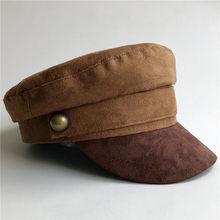 Gamuza sombrero militar hombres mujeres gorra militar superior plana  personalizada en línea celebrity estilo británico Browm par. 50edc3e10ed