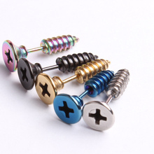 Punk Style nail stud earrings for women men Stainless Steel fashion jewelry screw back