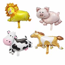 10pcs MIni Animals Shaped balloon lion cow pig horse mini cartoon foil balloons kids toy wedding birthday party decoration(China)