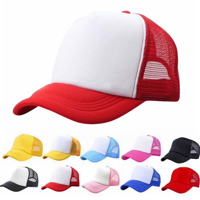 Adjustable Baby Boy Girl Trucker Blank Curved Visor Hat Mesh Plain Baseball Caps