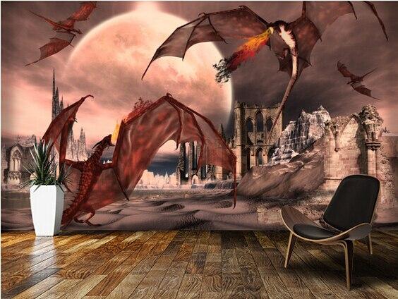 Custom papel de parede infantil.Fantasy Scene With Fighting Dragons,3D wallpaper for childrens room living room wall wallpaper<br><br>Aliexpress