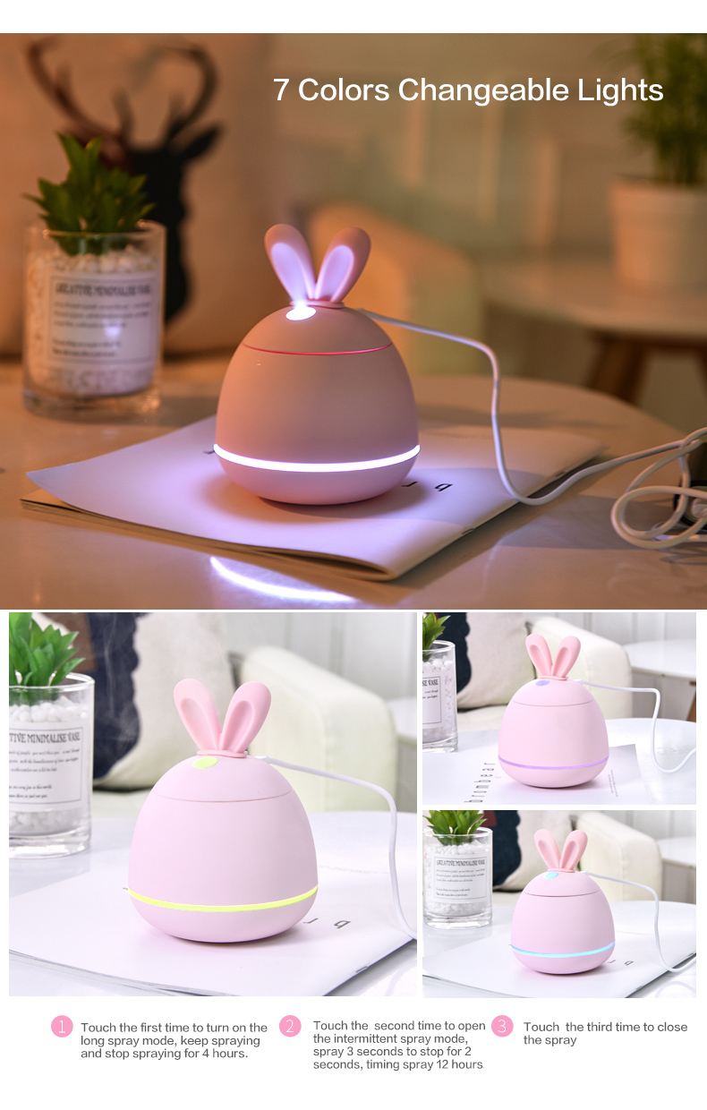 2018 new mini rabbit ear usb desk humidifier