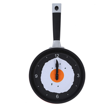 UESH-Frying Pan Clock with Fried Egg - Novelty Hanging Kitchen Cafe Wall Clock Kitchen - Red(China)