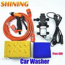 Free Shipping DC 12V Electric 60W High Pressure Portable Car Washer Washing Machine Car Wash Washing Pump Tool Kit + Free Gift