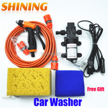 Free Shipping DC 12V Electric 60W High Pressure Portable Car Washer Washing Machine Car Wash Washing Pump Tool Kit + Free Gift(China)