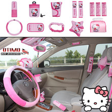 1Set/14Pcs Cute Hello Kitty Comfortable Car Seat Covers Car Accessories Pink Bowknot Cartoon Polyester Car Steering Wheel Cover