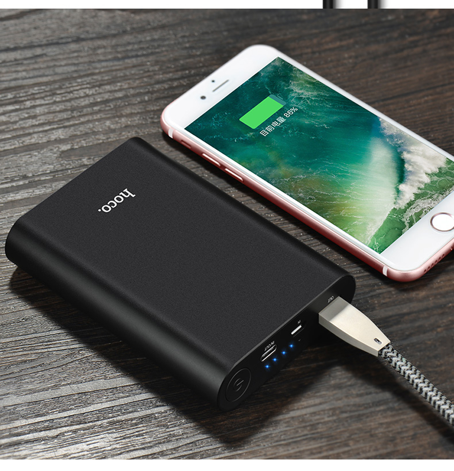 HOCO QC3.0 8000mAh Quick Charge Power Bank External Battery Portable Phone Charger USB and Type C Charging for iPhone Xiaomi LG