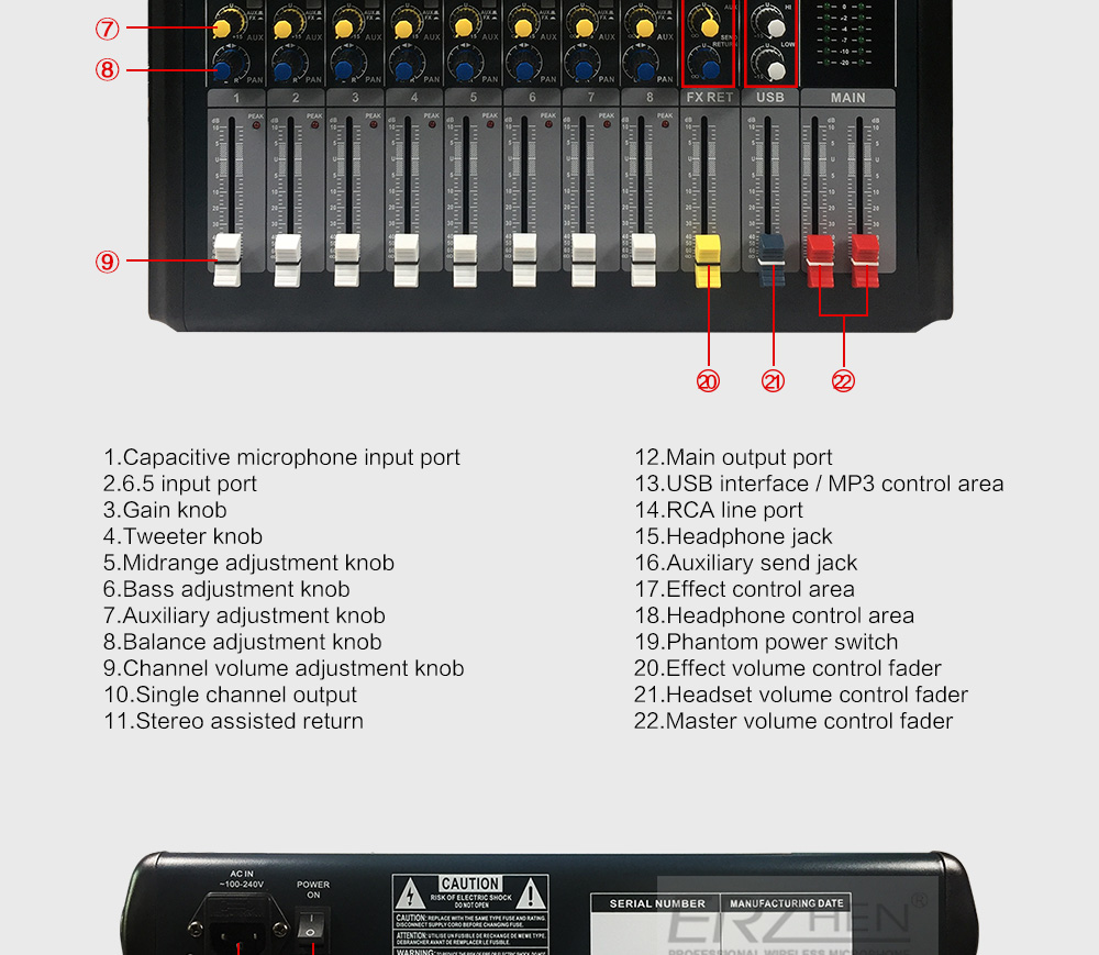 Audio Mixer Console W7000T8 Professional Mixer Audio Amplifier Sound Processor 8 Channel