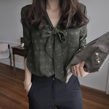 2017 Spring Sexy Women's Long Sleeve V Neck Office Blouses Chiffon Bow Army Green Plus Size Lady Coiktail Party Club Shirt