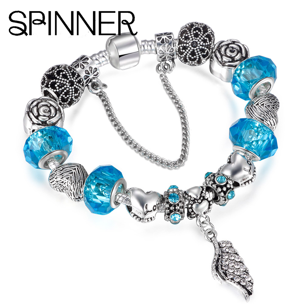 Spinner Fashion Silver Plated Murano Glass Charm Beads Fit Pandora Charm Bracelet For Women Jewelry Accessories Comfortable And Easy To Wear Beads & Jewelry Making