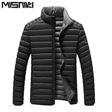 2017 newest men winter jacket stand collar light weight cotton padded thick slim fit male parka M-XXL AYG355(China)