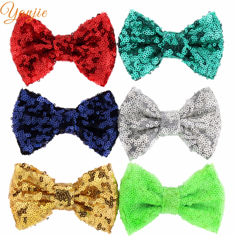 "500pcs/lot 32colors DHL Free Hot-sale Kids Girl 4"" Sequin Glitter Bow without clips DIY Hair Accessories For Kids 2016 Headwear(China (Mainland))"