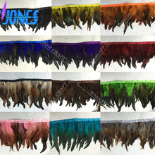 "10M 5-7""Natural Rooster Feather Trim Bride Decoration Skirt Feather Rbibbon Party Decorative Boas Strip DIY Clothing Accessories(China)"
