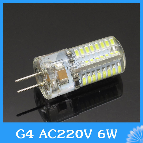 AC 220V 3014 High Power 6W G4 64LED Replace Max 50W halogen lamp 360 Beam Angle LED Bulb For bedroom chandelier luxury(China (Mainland))