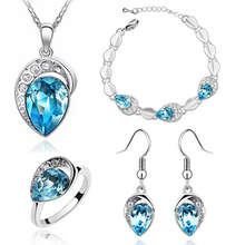4Colors Waterdrop shaped  and Necklace Bracelet Earrings Women Fashion Wedding Jewelry Sets,  A83+B140+C19+E21