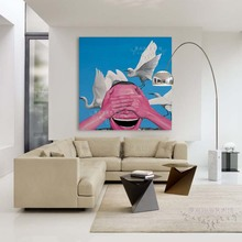 close eyes yueminjun hand painted oil painting canvas laughing smiling face picture man portrait for wall living room decoration(China)