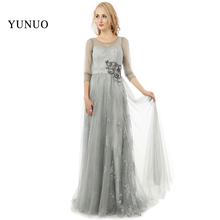 Silver Three Quarter Sleeve Lace A ppliques Flowers Tulle Prom Dress A-Line Sexy See-though Vestido De Festa Custom Made x08134